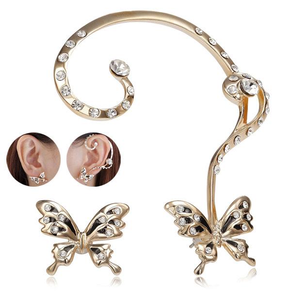 Butterfly Stud Gold Butterfly Ear-Cuff Wrap Earrings: EAR-CUFF.CO.UK