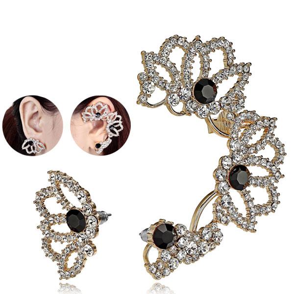 Gold Flower Cartilage Ear Wrap Cuff Earring & stud earring from EAR-CUFFS.CO.UK
