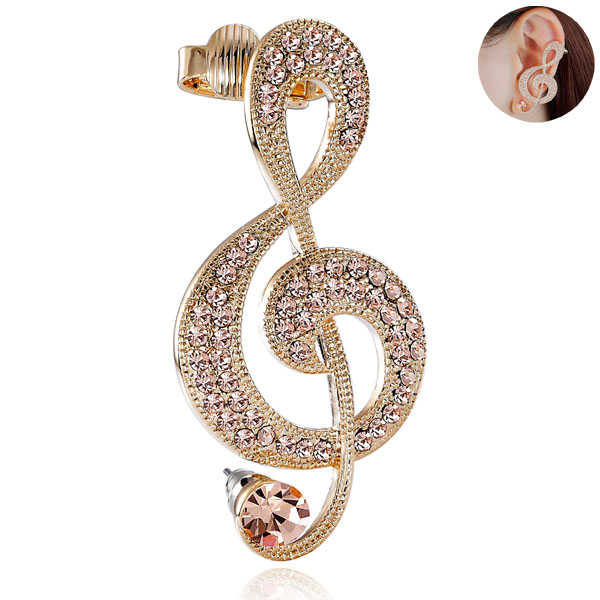 Gold Music Note Ear-Cuff Earring Champagne Rhinestone - EAR-CUFF.CO.UK