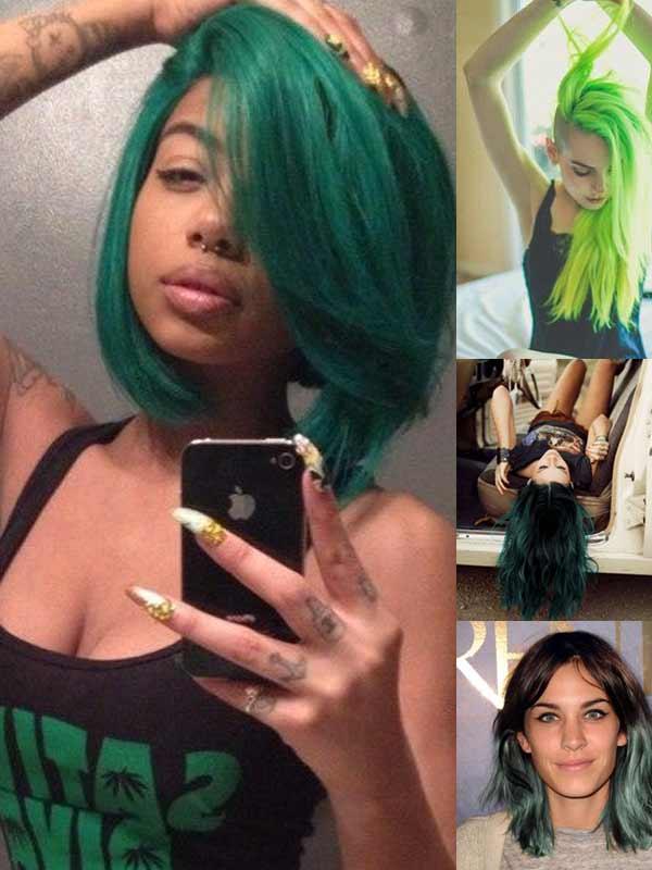 green-hair-style
