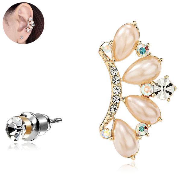 Pearl Gold Crown Ear Cuff & stud earring from EAR-CUFFS.CO.UK