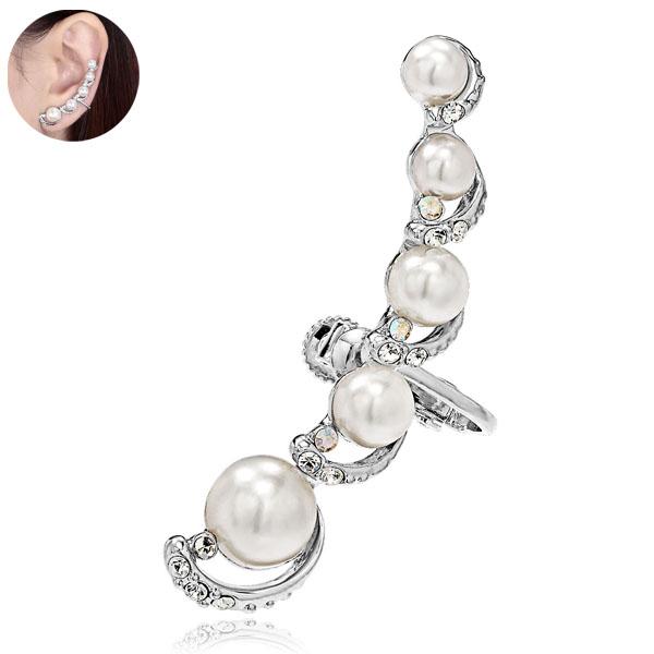 Pearl Silver Moon Cartilage Ear Non-Piercing Cuff-Earring from EAR-CUFF.CO.UK